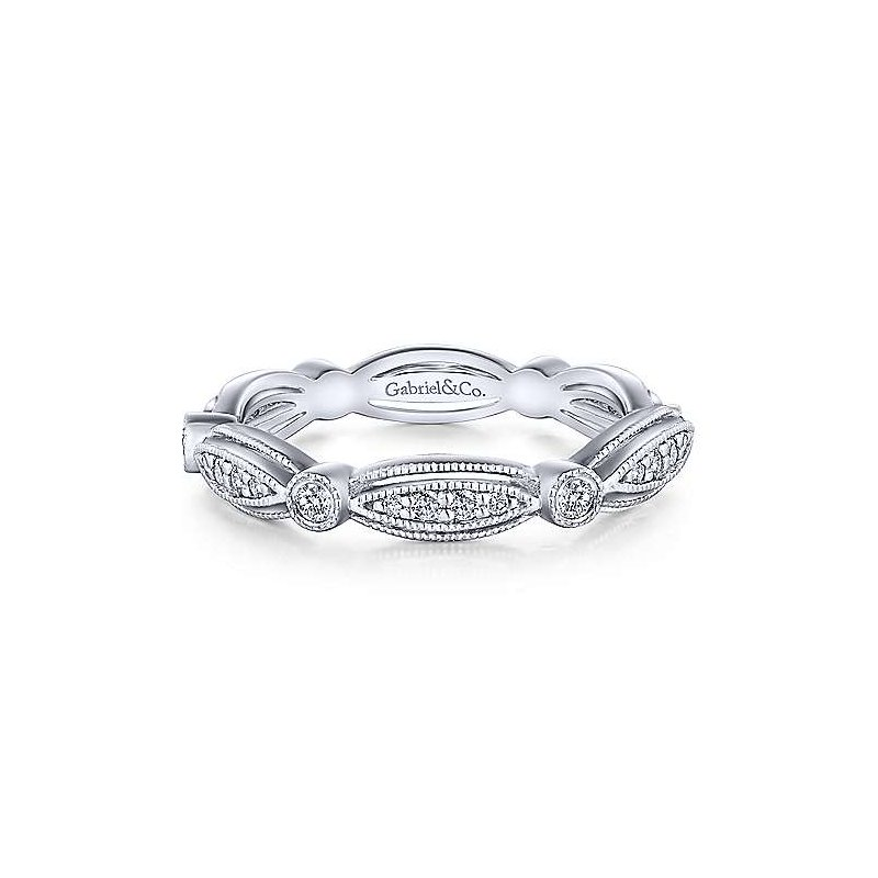 Gabriel & Co. -  IN-STORE COLLECTION Scalloped Diamond Stackable Band