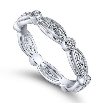 Scalloped Diamond Stackable Band