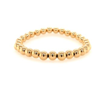 Stretch 6mm Yellow Gold Filled Bead Bracelet