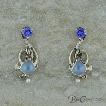 Moonstone & Tanzanite Earrings