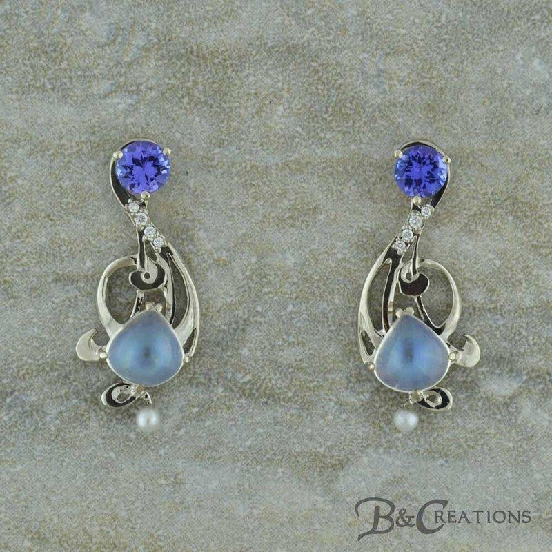 B&C Creations Moonstone & Tanzanite Earrings