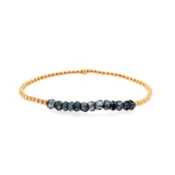 Stretch 2mm Yellow Gold Filled and Gray Topaz Bracelet