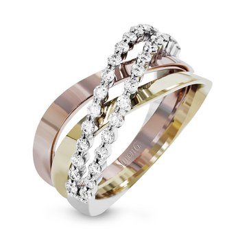 Tri-Color Diamond Crossover Band