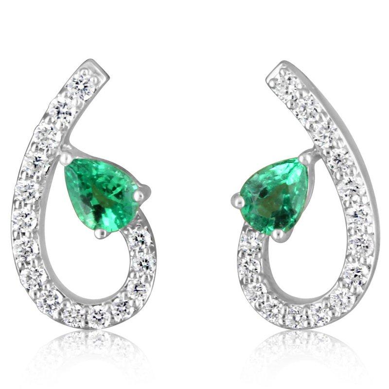 Parlé Emerald and Diamond Swirl Earrings