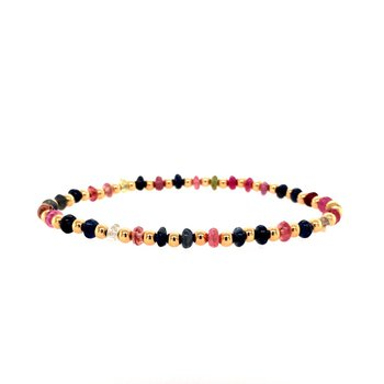 3mm Yellow Gold Filled and Mixed Sapphire Bead Bracelet