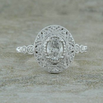 White Gold Vintage Halo Engagement Style Ring
