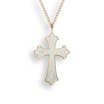 White Enamel Cross Pendant
