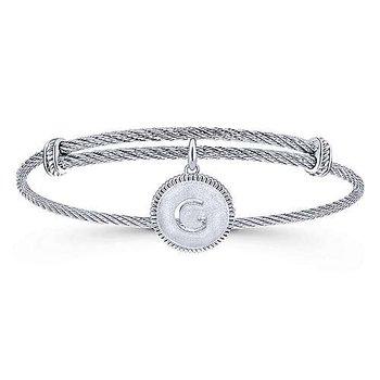 "Initial ""G"" Charm Bangle"