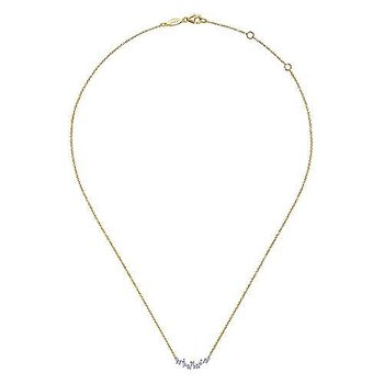 Baguette and Round Diamond Bar Necklace