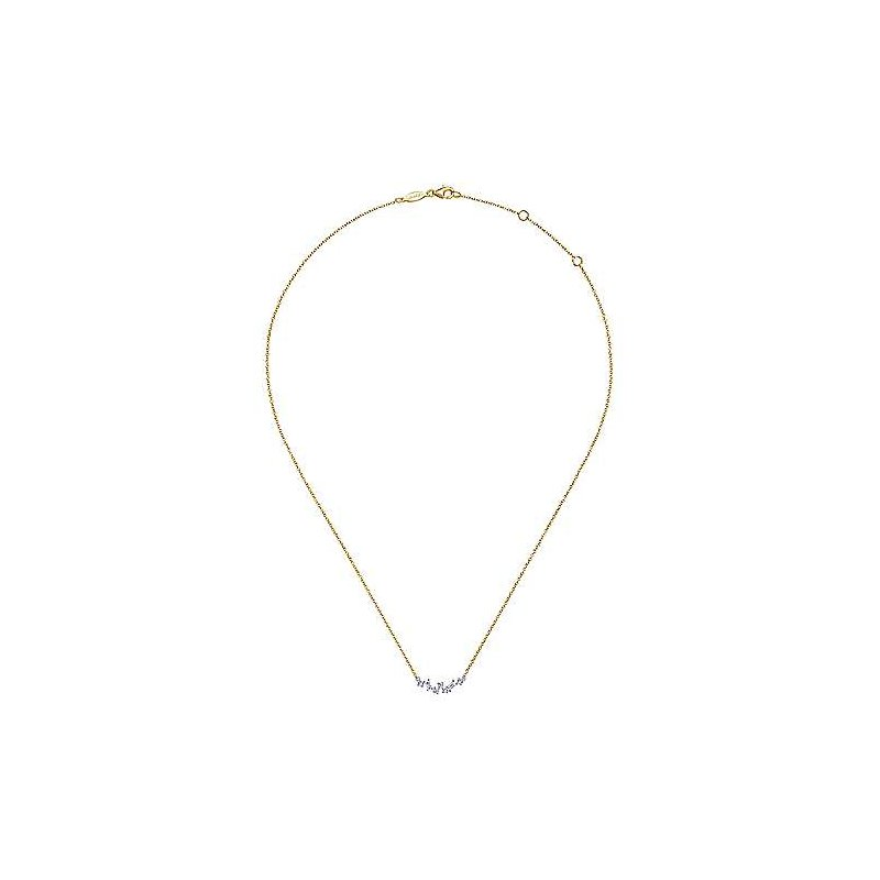 Gabriel & Co. -  IN-STORE COLLECTION Baguette and Round Diamond Bar Necklace