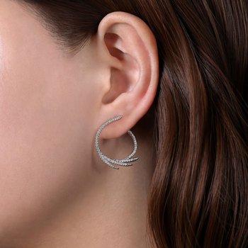 Diamond Fan Hoop Earrings