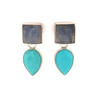 Labradorite & Turquoise Dangles