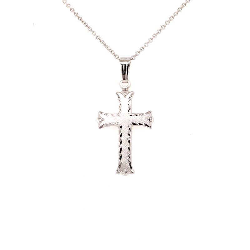 B&C Collections Solid White Gold Cross Pendant