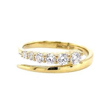 18K Yellow Diamond Bypass Ring