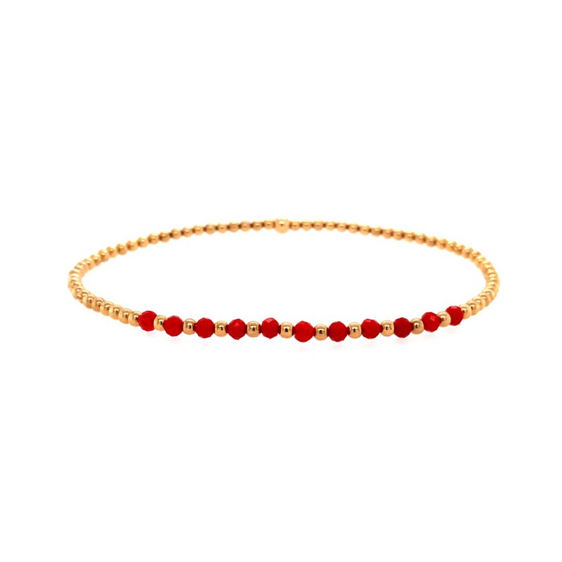 Karen Lazar 2mm Yellow Gold Filled and Red Coral Beads