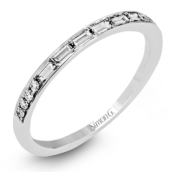 White Gold Baguette and Round Diamond Wedding Band
