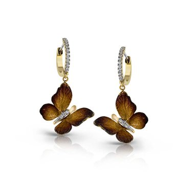 Yellow Gold Diamond Butterfly Hoop Earrings