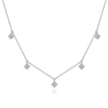 Diamond Pave Clover Drop Necklace