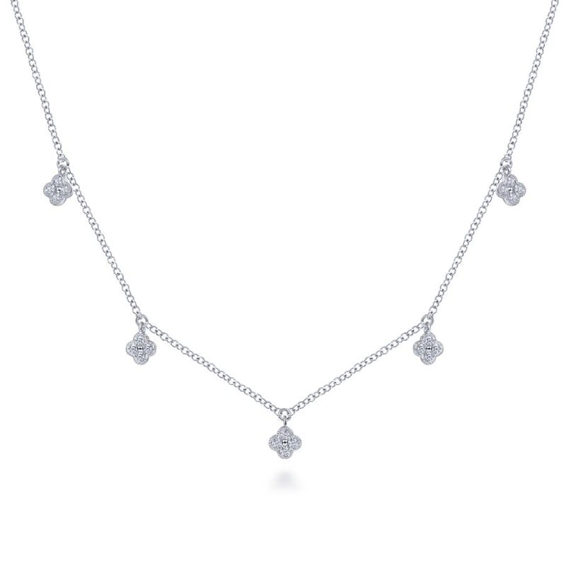 Gabriel & Co. -  IN-STORE COLLECTION Diamond Pave Clover Drop Necklace