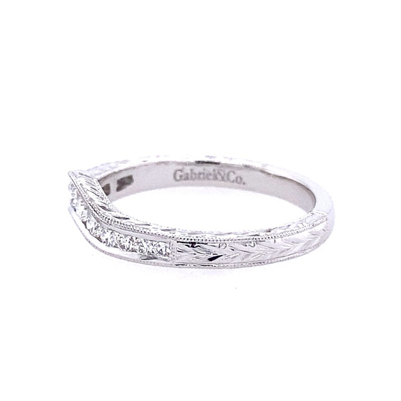 Gabriel & Co. -  IN-STORE COLLECTION Vintage Inspired 14K White Gold Curved Channel Set Diamond Wedding Band with Engraving