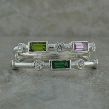 Two Row Birthstone Ring