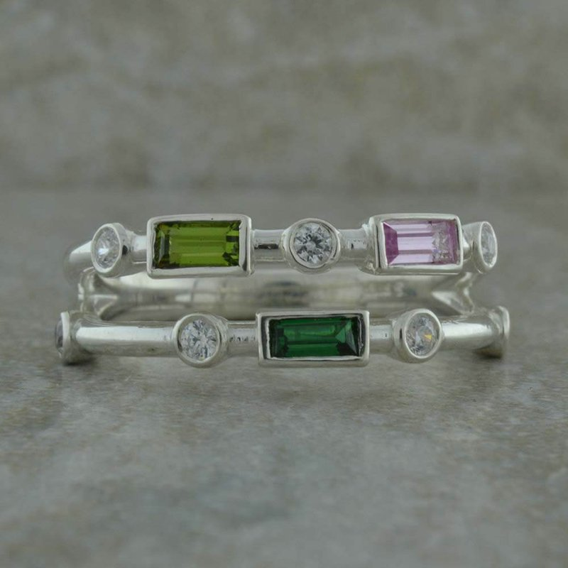 B&C Collections Two Row Birthstone Ring