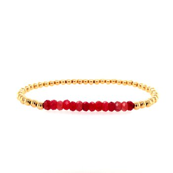 3mm Yellow Gold Filled and Ruby Beads