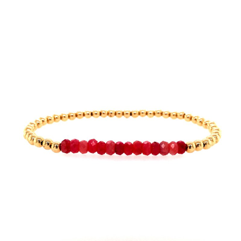 Karen Lazar 3mm Yellow Gold Filled and Ruby Beads