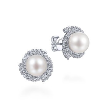 White Gold Diamond & Pearl Earrings