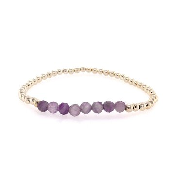 Stretch 3mm Sterling Silver and Mixed Amethyst bead Bracelet