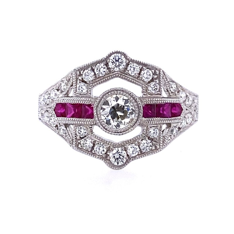 B&C Collections Diamond and Ruby Ring