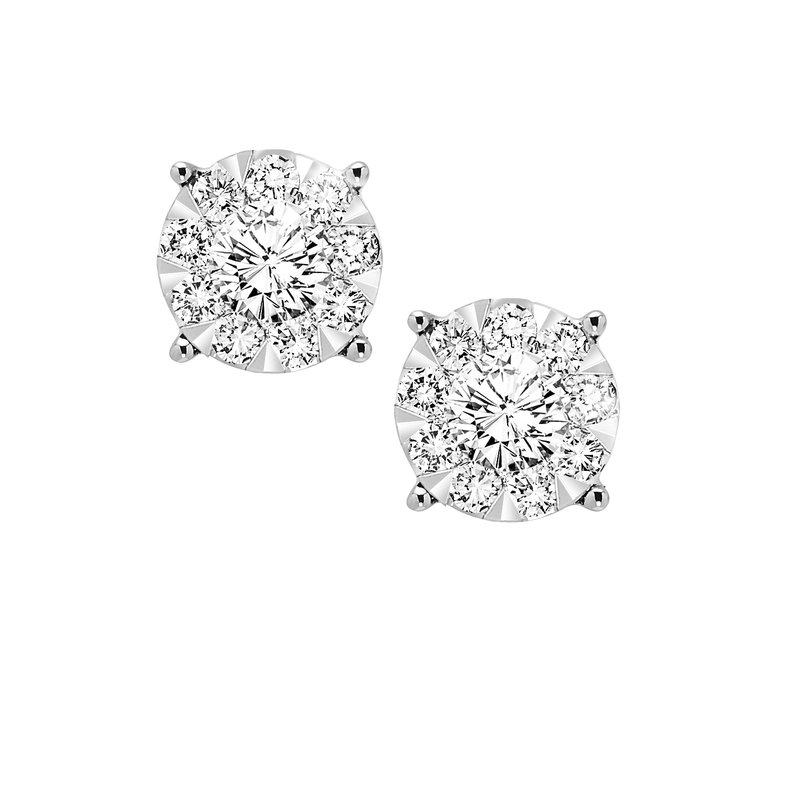 B&C Collections 3/4ctw Illusion Cluster Studs
