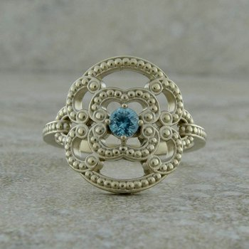 Blue Zircon Fashion Ring