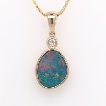 Austrailian Opal and Diamond Pendant