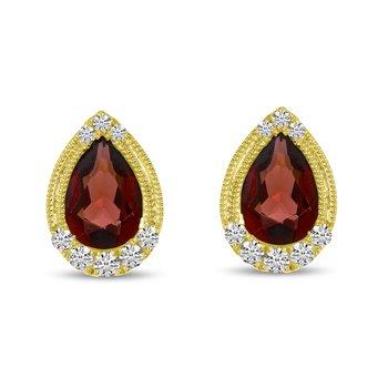 Garnet and Diamond Studs