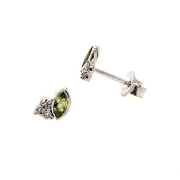 Peridot and Diamond Leaflet Earrings
