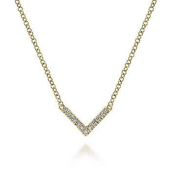 """V"" Shaped Diamond Bar Necklace"