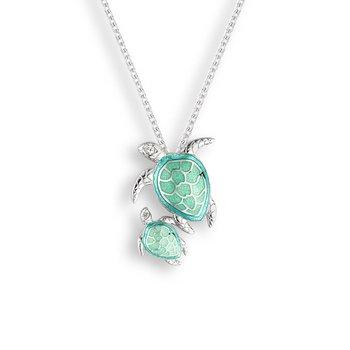 Seafoam Turtles Necklace