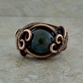 Oxidized Chalcedony Ring