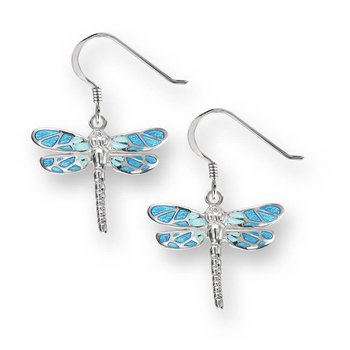 Blue Dragonfly Wire Earrings