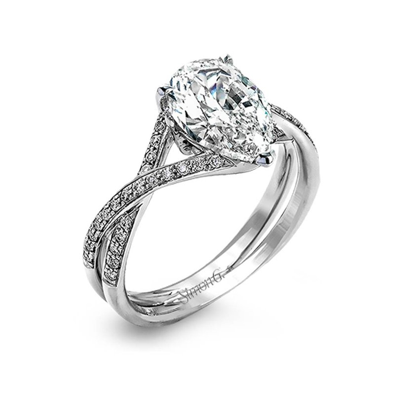 Simon G IN-STORE COLLECTION White Gold Twist Style Pear Shaped Diamond Engagement Ring