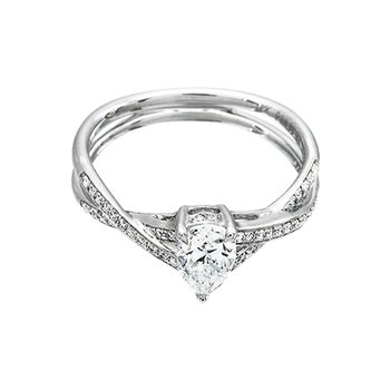 White Gold Twist Style Pear Shaped Diamond Engagement Ring