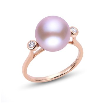 Blushing Pearl and Diamond Ring