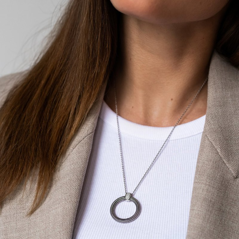 Ti Sento Textured Circle Necklace