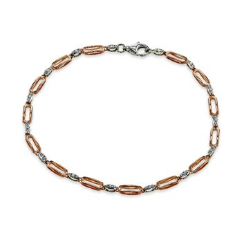 Zeghani 14K Rose and White Gold Diamond Bracelet