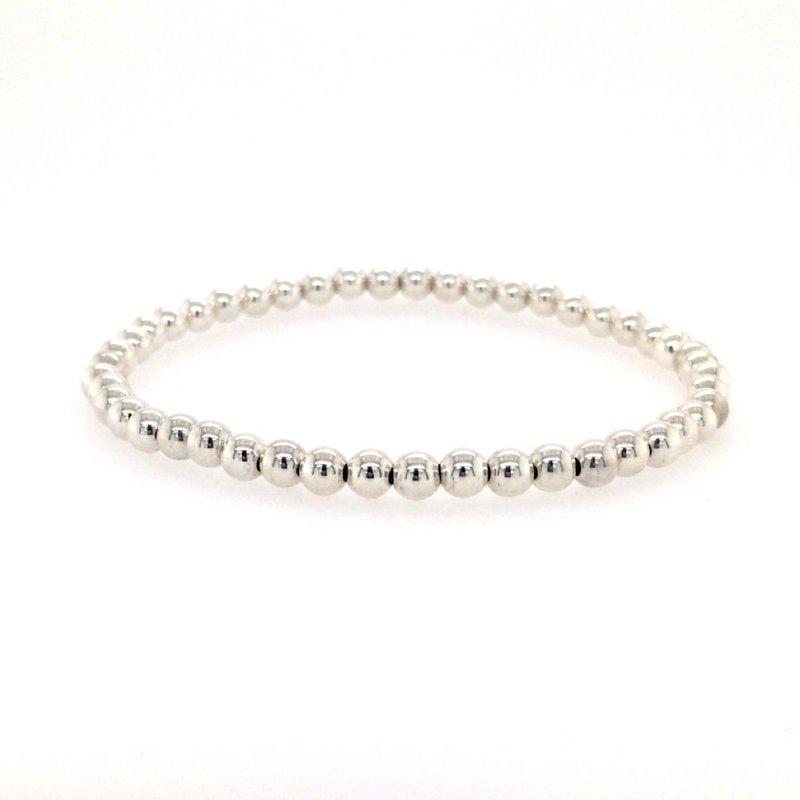 Karen Lazar Stretch 4 MM Sterling Silver Bead Bracelet