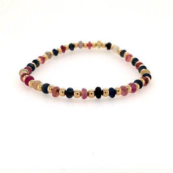 3MM Mixed Sapphire Bead Bracelet