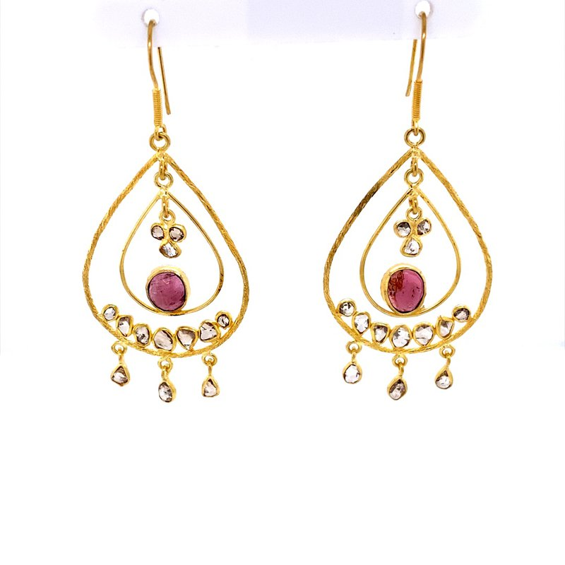 B&C Estate Collection Pink Tourmaline chandelier Earrings