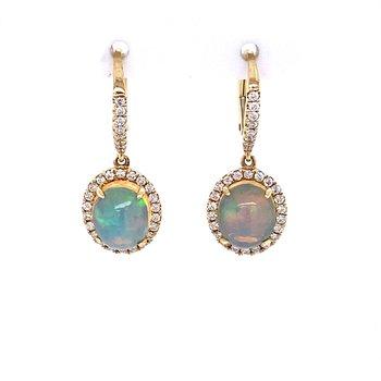 Opal & Diamond Dangle Earrings