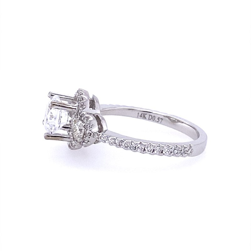 B&C Collections White Gold Halo style Engagement Ring